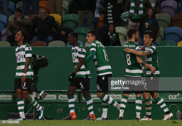 Sporting CP forward Fredy Montero from Colombia celebrates with teammates after scoring a goal during the Primeira Liga match between Sporting CP and...
