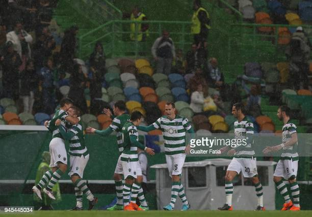 Sporting CP forward Fredy Montero from Colombia celebrates with teammates after scoring a goal during the UEFA Europa League Quarter Final Leg Two...