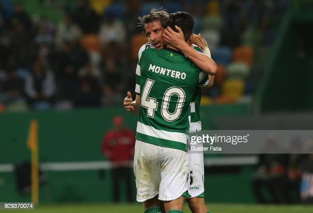 Sporting CP forward Fredy Montero from Colombia celebrates with teammate Sporting CP defender Fabio Coentrao from Portugal after scoring a goal...