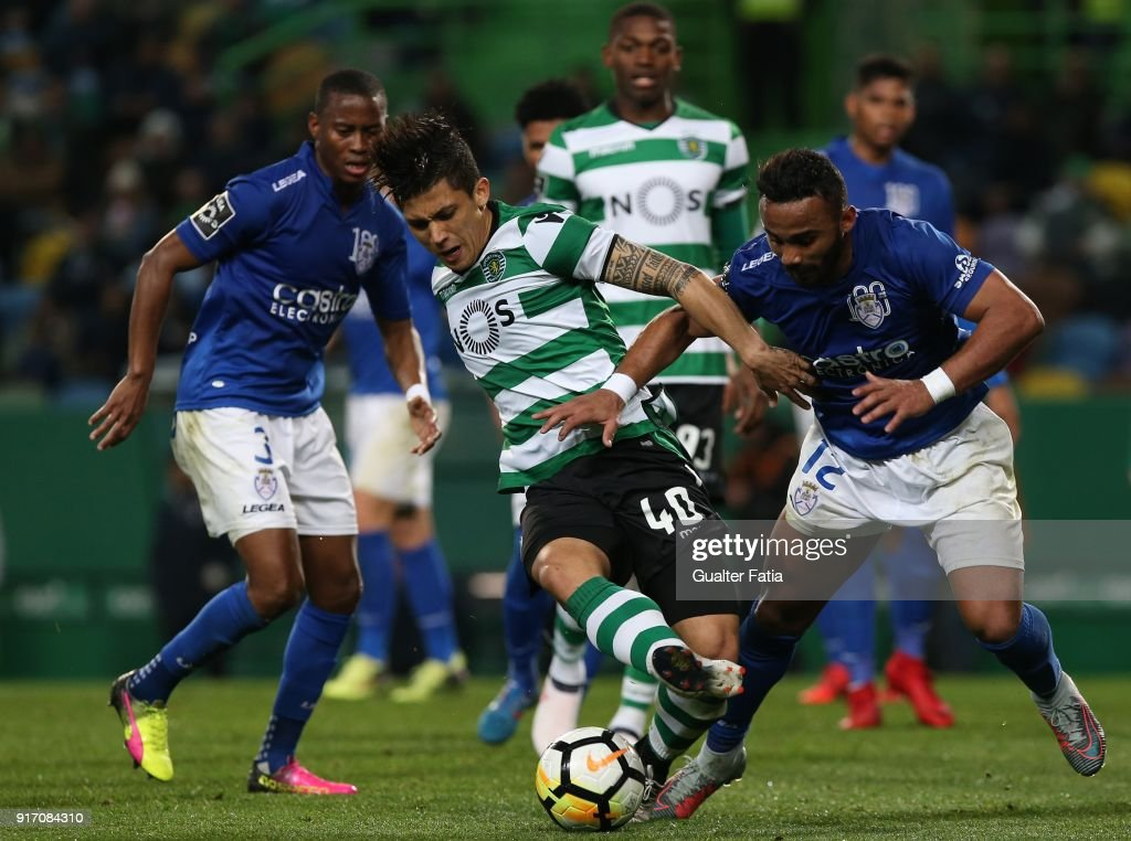 Sporting CP forward Fredy Montero from Colombia with CD Feirense forward Edson Farias from Brazil in action during the Primeira Liga match between Sporting CP and CD Feirense at Estadio Jose Alvalade on February 11, 2018 in Lisbon, Portugal.