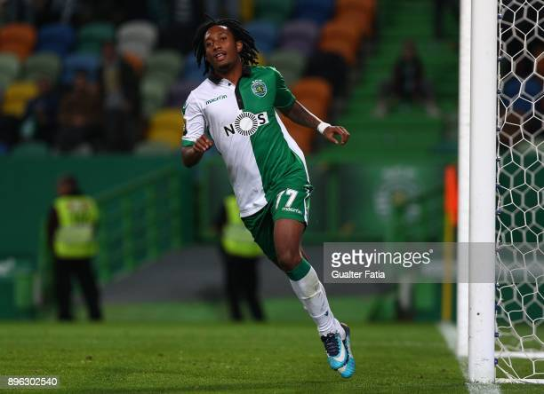 Sporting CP forward Gelson Martins from Portugal celebrates after scoring a goal during the Portuguese League Cup match between Sporting CP and Uniao...