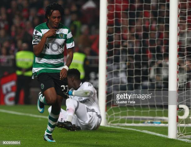 Sporting CP forward Gelson Martins from Portugal celebrates after scoring a goal during the Primeira Liga match between SL Benfica and Sporting CP at...