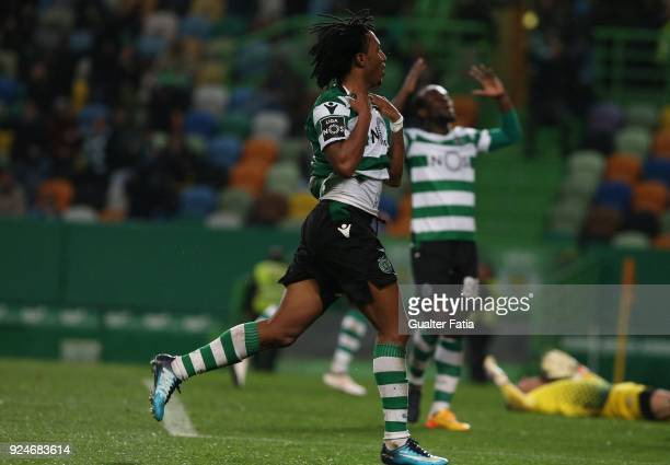 Sporting CP forward Gelson Martins from Portugal celebrates after scoring a goal during the Primeira Liga match between Sporting CP and Moreirense FC...