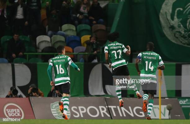 Sporting CP forward Gelson Martins from Portugal celebrates after scoring a goal during the Primeira Liga match between Sporting CP and Rio Ave FC at...