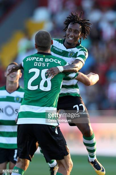 Sporting CP forward Gelson Martins from Portugal celebrates scoring Sporting second goal with Sporting CP forward Bas Dost from Holland during the...