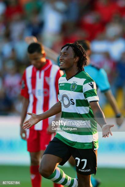 Sporting CP forward Gelson Martins from Portugal celebrates scoring Sporting second goal during the match between Desportivo das Aves vs Sporting CP...