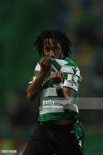Sporting CP forward Gelson Martins from Portugal celebrates scoring Sporting goal during the Portuguese Primeira Liga match between Sporting CP and...