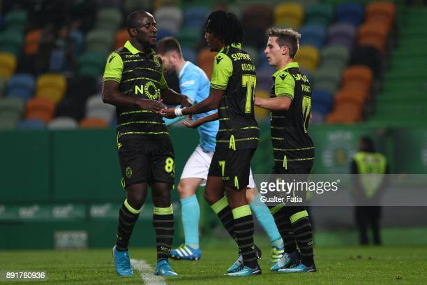 Sporting CP forward Gelson Martins from Portugal celebrates with teammates after scoring a goal during the Portuguese Cup match between Sporting CP...
