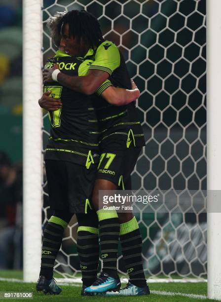 Sporting CP forward Gelson Martins from Portugal celebrates with teammate Sporting CP forward Daniel Pondence from Portugal after scoring a goal...