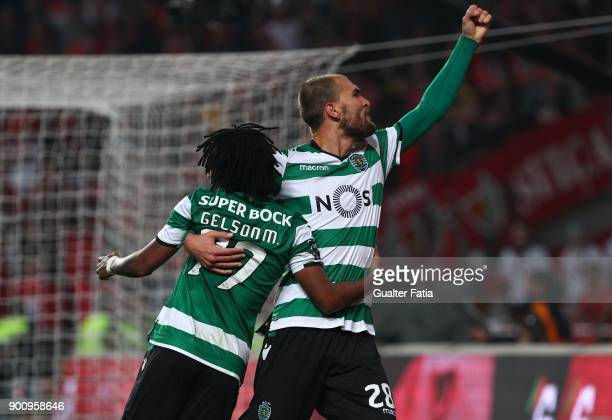 Sporting CP forward Gelson Martins from Portugal celebrates with teammate Sporting CP forward Bas Dost from Holland after scoring a goal during the...