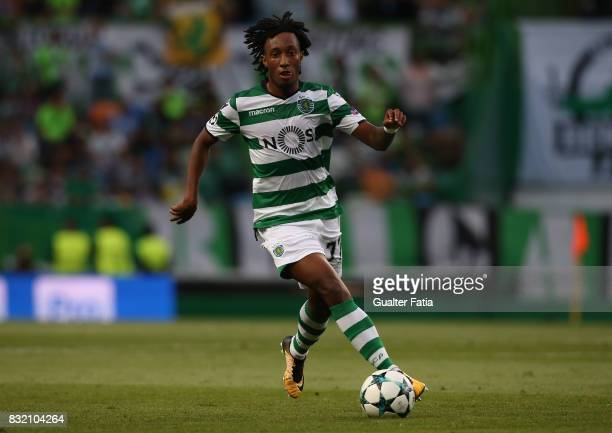 Sporting CP forward Gelson Martins from Portugal in action during the UEFA Champions League Qualifying PlayOffs Round First Leg match between...
