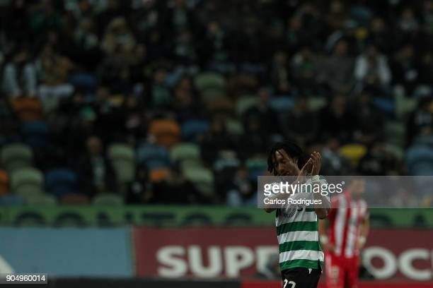 Sporting CP forward Gelson Martins from Portugal thanks the Sporting supporters during the Portuguese Primeira Liga match between Sporting CP and GD...