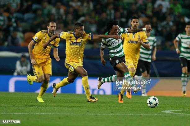 Sporting CP forward Gelson Martins from Portugal tries to escape Juventus defender Alex Sandro from Brazil during the UEFA Champions League group D...