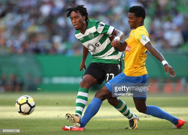 Sporting CP forward Gelson Martins from Portugal with GD Estoril Praia defender Mano from Portugal in action during the Primeira Liga match between...