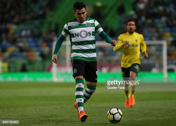 Sporting CP forward Marcos Acuña from Argentina controls the ball during the Primeira Liga match between Sporting CP and FC Pacos de Ferreira at...