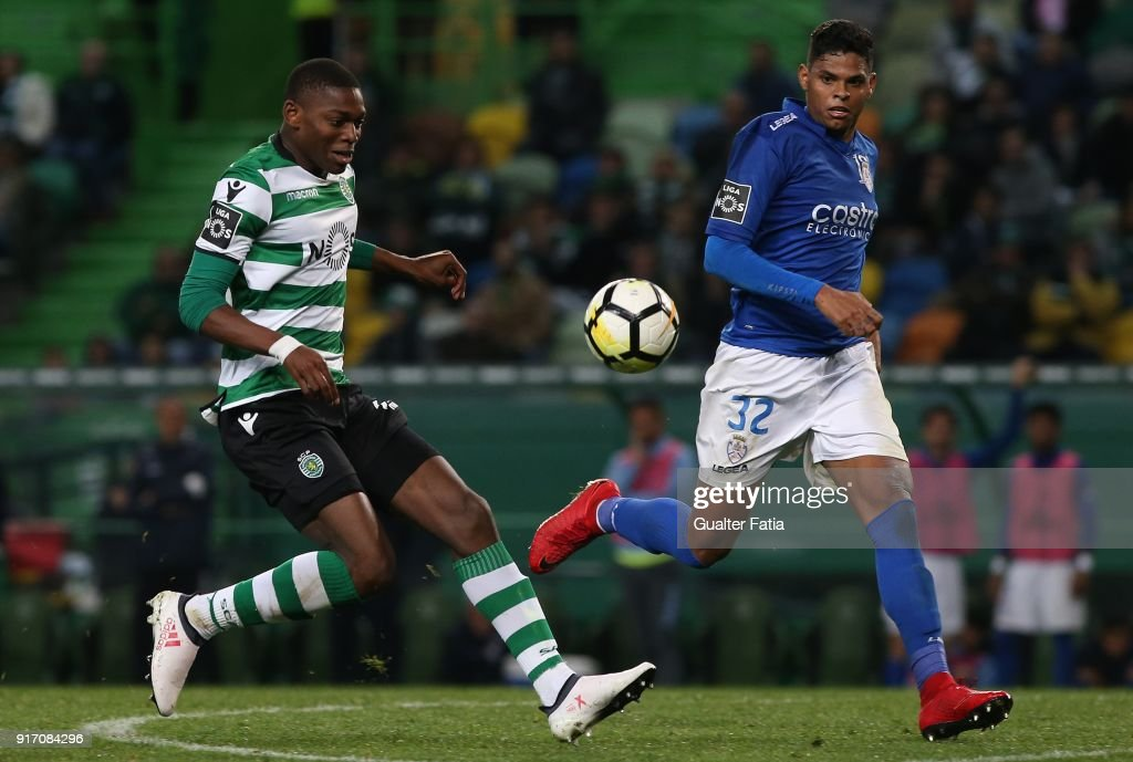 Sporting CP forward Rafael Leao from Portugal with CD Feirense defender Flavio Ramos from Brazil in action during the Primeira Liga match between Sporting CP and CD Feirense at Estadio Jose Alvalade on February 11, 2018 in Lisbon, Portugal.