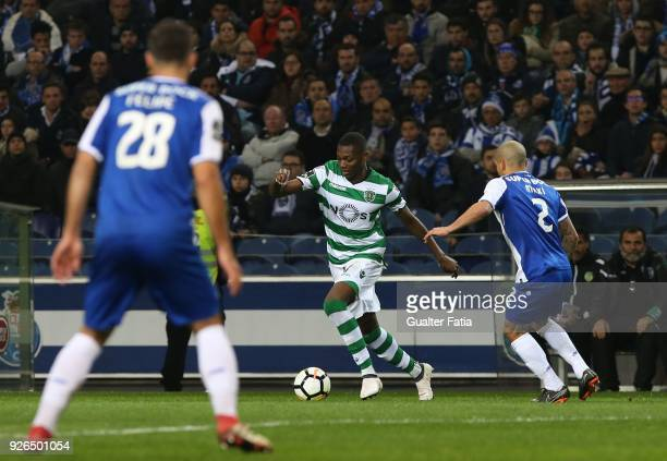 Sporting CP forward Rafael Leao from Portugal with FC Porto defender Maxi Pereira from Uruguay in action during the Primeira Liga match between FC...