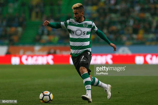 Sporting CP forward Ruben Ribeiro from Portugal during Premier League 2017/18 match between Sporting CP and Rio Ave FC at Alvalade Stadium in Lisbon...