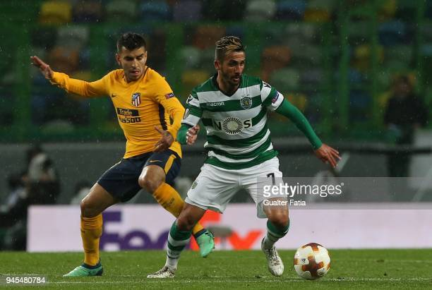 Sporting CP forward Ruben Ribeiro from Portugal with Club Atletico de Madrid midfielder Angel Correa from Argentina in action during the UEFA Europa...