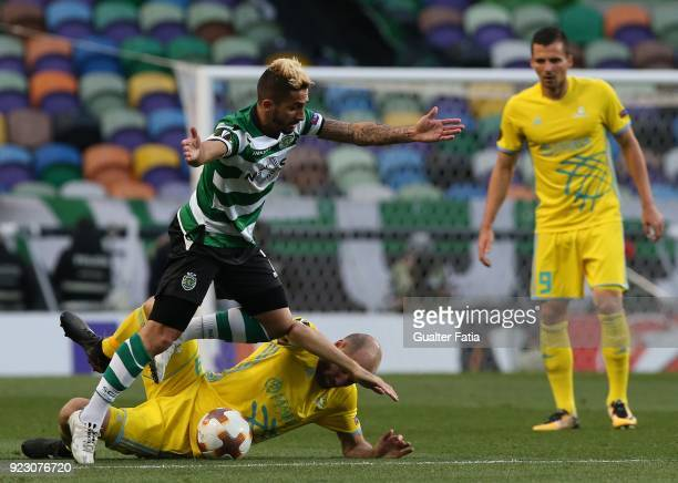 Sporting CP forward Ruben Ribeiro from Portugal with FC Astana midfielder Ivan Maevski from Bielorussia in action during the UEFA Europa League match...