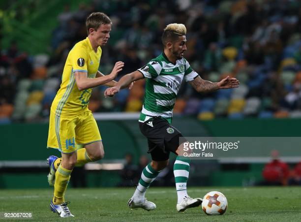 Sporting CP forward Ruben Ribeiro from Portugal with FC Astana midfielder Marin Tomasov from Croatia in action during the UEFA Europa League match...