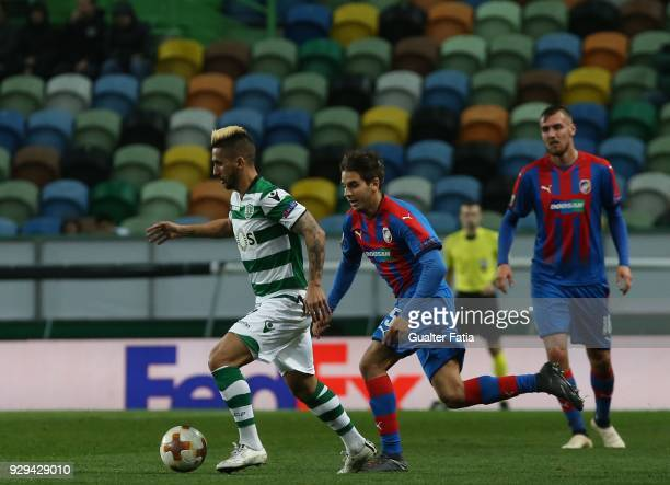Sporting CP forward Ruben Ribeiro from Portugal with FC Viktoria Plzen midfielder Ales Cermak from Czech Republic in action during the UEFA Europa...