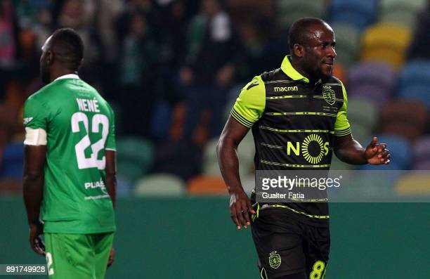 Sporting CP forward Seydou Doumbia from Ivory Coast celebrates after scoring a goal during the Portuguese Cup match between Sporting CP and...