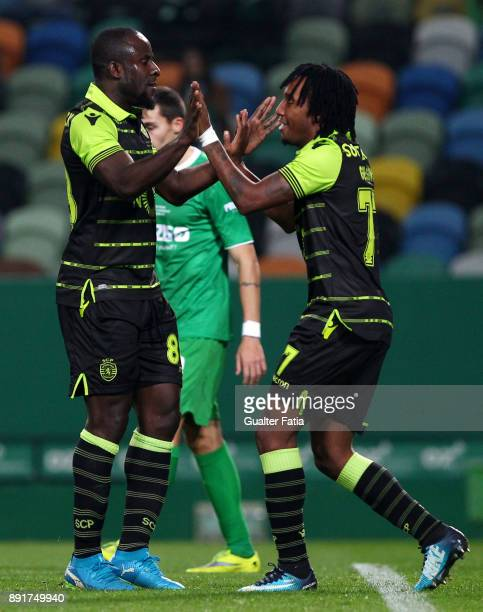 Sporting CP forward Seydou Doumbia from Ivory Coast celebrates with teammate Sporting CP forward Gelson Martins from Portugal after scoring a goal...