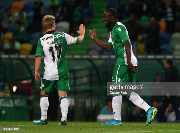 Sporting CP forward Seydou Doumbia from Ivory Coast celebrates with teammate Sporting CP forward Daniel Pondence from Portugal after scoring a goal...