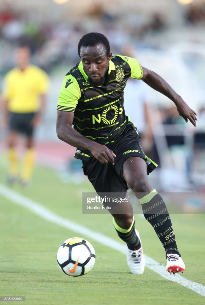 Sporting CP forward Seydou Doumbia from Ivory Coast in action during Pre-Season Friendly match between Sporting CP and Vitoria Guimaraes at Estadio Municipal de Rio Maior on July 26, 2017 in Rio Maior, Portugal.