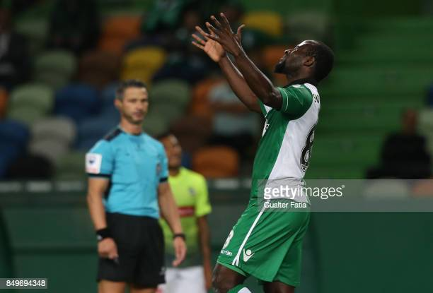 Sporting CP forward Seydou Doumbia from Ivory Coast reaction after missing a goal opportunity during the Portuguese League Cup match between Sporting...