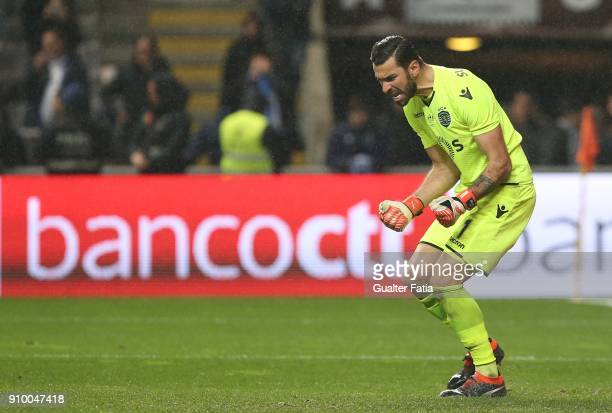 Sporting CP goalkeeper Rui Patricio from Portugal celebrates after defending a shot in the penalty shootout during the Taca da Liga Semi Final match...