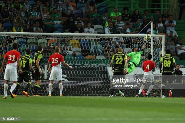 Sporting CP goalkeeper Rui Patricio from Portugal great safe during the Friendly match between Sporting CP and AS Monaco at Estadio Jose Alvalade on...