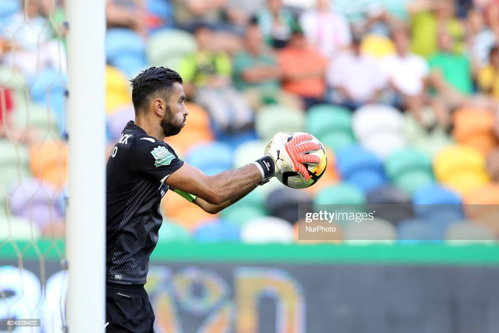 Sporting CP goalkeeper Rui Patricio from Portugal in action during the Trophy Five Violins 2017 final football match Sporting CP vs ACF Fiorentina at Alvadade stadium in Lisbon, Portugal on July 29, 2017.