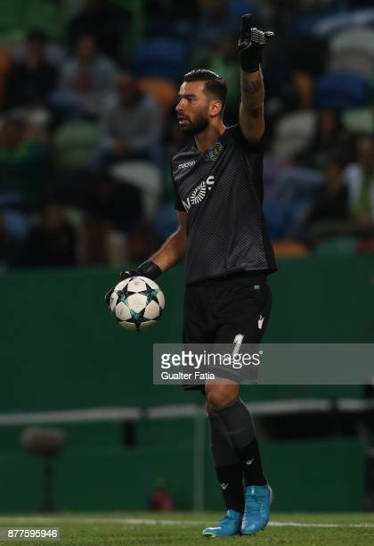 Sporting CP goalkeeper Rui Patricio from Portugal in action during the UEFA Champions League match between Sporting Clube de Portugal and Olympiakos...
