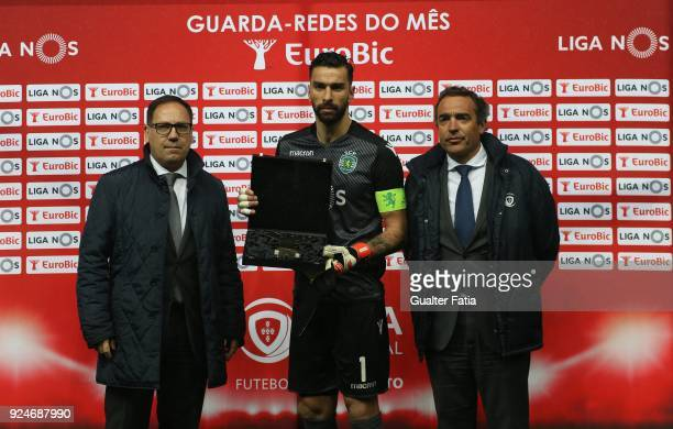 Sporting CP goalkeeper Rui Patricio from Portugal receives the award for Best Goalkeeper in the month of January in the Portuguese League before the...
