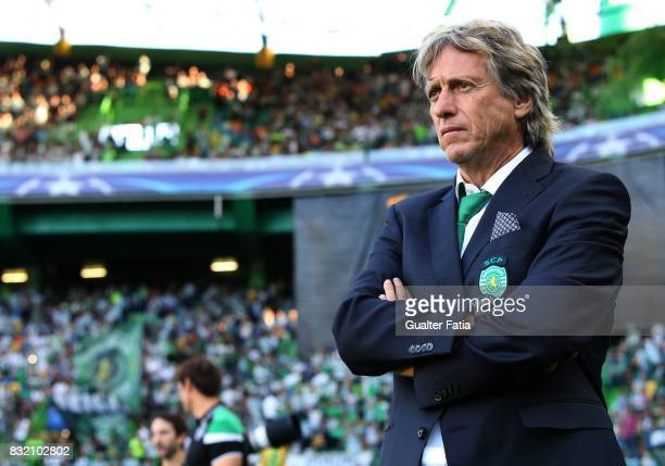 Sporting CP head coach Jorge Jesus from Portugal before the start of the UEFA Champions League Qualifying PlayOffs Round First Leg match between...