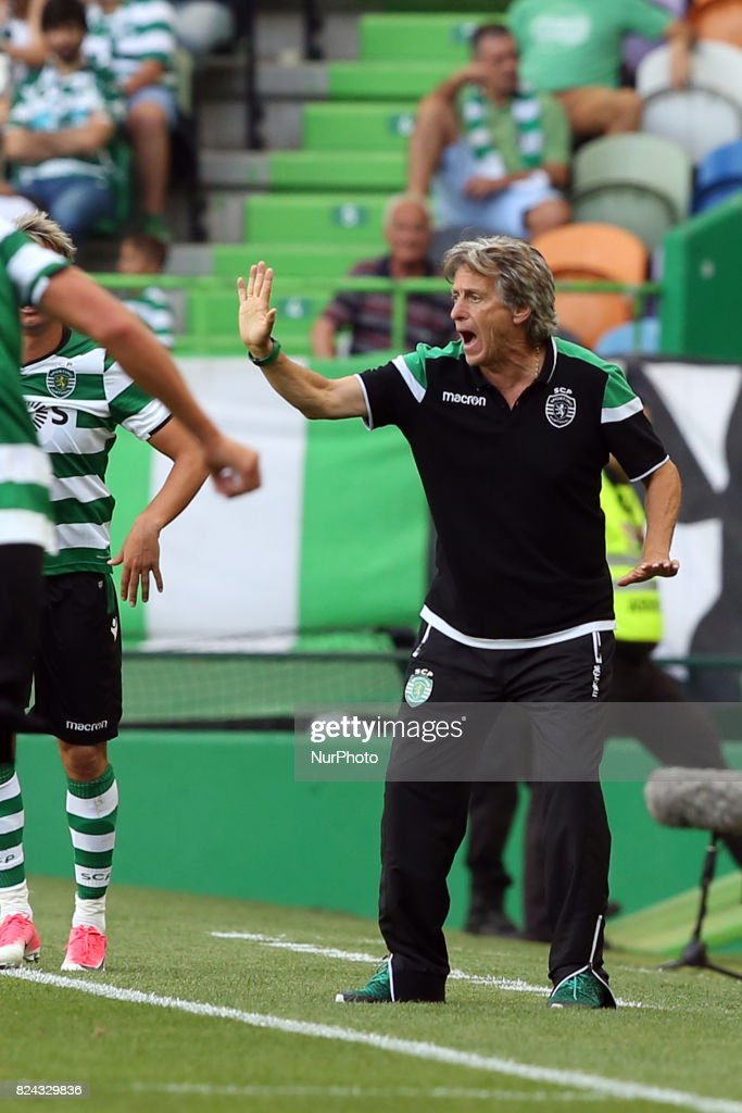 Sporting CP head coach Jorge Jesus from Portugal gestures during the Trophy Five Violins 2017 final football match Sporting CP vs ACF Fiorentina at Alvadade stadium in Lisbon, Portugal on July 29, 2017.