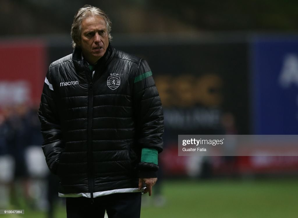 Sporting CP head coach Jorge Jesus from Portugal reaction in the penalty shootout during the Taca da Liga Semi Final match between Sporting CP and FC Porto at Estadio Municipal de Braga on January 24, 2018 in Braga, Portugal.