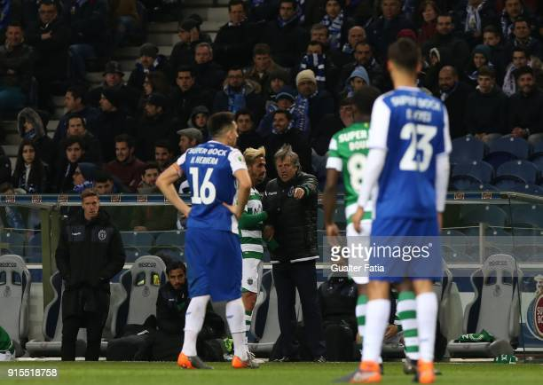 Sporting CP head coach Jorge Jesus from Portugal talks to Sporting CP forward Ruben Ribeiro from Portugal during the Portuguese Cup Semi Final Leg...