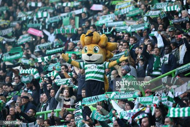 Sporting CP mascot Jubas with supporters before the start of the Liga NOS match between Sporting CP and SL Benfica at Estadio Jose Alvalade on...