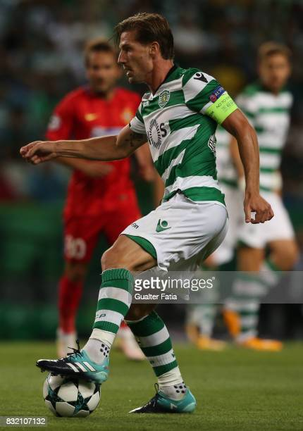 Sporting CP midfielder Adrien Silva from Portugal in action during the UEFA Champions League Qualifying PlayOffs Round First Leg match between...