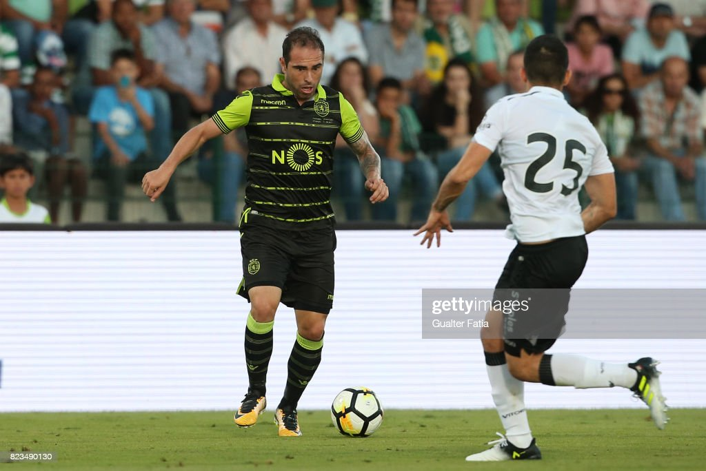 Sporting CP midfielder Bruno Cesar from Brazil in action during Pre-Season Friendly match between Sporting CP and Vitoria Guimaraes at Estadio Municipal de Rio Maior on July 26, 2017 in Rio Maior, Portugal.