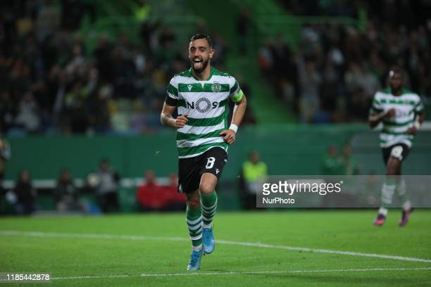 Sporting CP Midfielder Bruno Fernandes celebrates after scoring a goal during Uefa Europa League 2019 Group D Round 5 match between Sporting CP and...