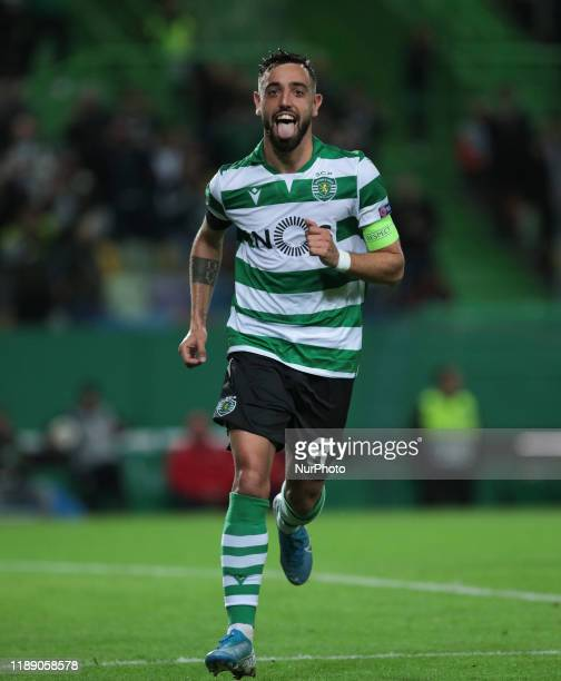 Sporting CP Midfielder Bruno Fernandes celebrates after scoring a goal during during Uefa Europa League 2019, Group D, Round 5 match between Sporting...