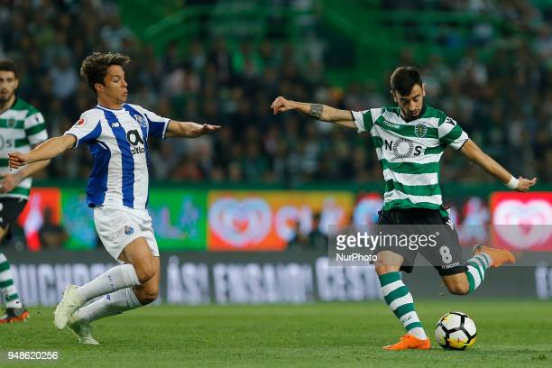 Sporting CP Midfielder Bruno Fernandes from Portugal and FC Porto Midfielder Oliver Torres from Spain during the Sporting CP v FC Porto Portuguese...