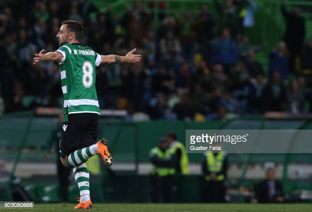 Sporting CP midfielder Bruno Fernandes from Portugal celebrates after scoring a goal during the UEFA Europa League match between Sporting CP and FC...
