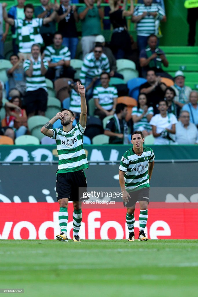 Sporting CP midfielder Bruno Fernandes from Portugal celebrates scoring Sporting first goal during the Friendly match between Sporting CP and AS Monaco at Estadio Jose Alvalade on July 22, 2017 in Lisbon, Portugal.