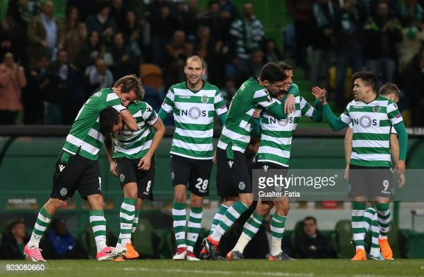 Sporting CP midfielder Bruno Fernandes from Portugal celebrates with teammates after scoring a goal during the UEFA Europa League match between...