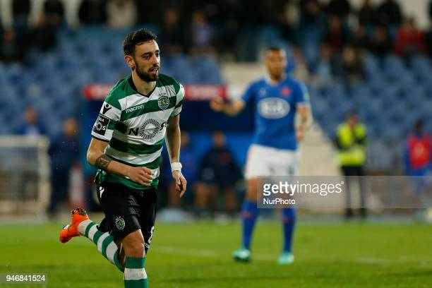 Sporting CP Midfielder Bruno Fernandes from Portugal celebrating after scoring a goal during the Premier League 2017/18 match between CF Os...
